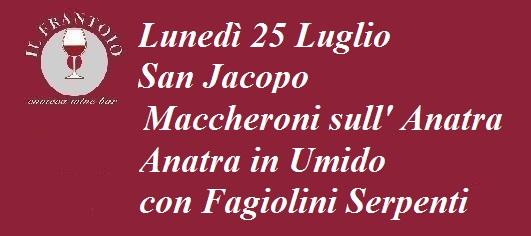 Lunedi 25 Luglio San Jacopo